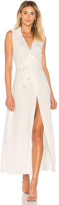 L'Academie The Sleeveless Wrap Dress in Ivory $198 thestylecure.com