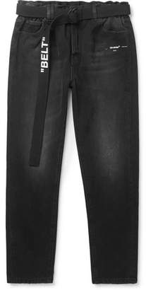 Off-White Slim-Fit Tapered Printed Washed-Denim Jeans
