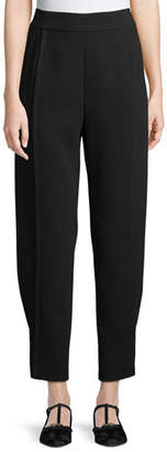 Emporio Armani Tapered Satin Back Crepe Pants w/ Button-Tab Cuffs