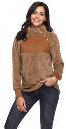 Lilly Posh Asymmetrical Snap Fleece Pullover Turtleneck,Special oblique neck