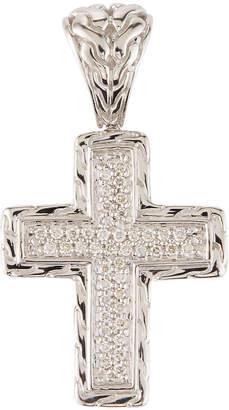 John Hardy Small Square Diamond Pave Cross Pendant