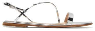 Gianvito Rossi Simple Strap Mirrored Leather Slingback Sandals - Womens - Silver