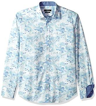 Bugatchi Men's Printed Cotton Slim Fit Point Collar Woven Shirt