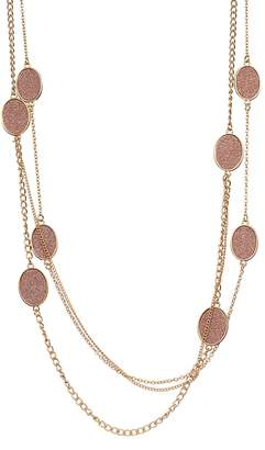 Pink Glitter Oval Long Multi Strand Necklace