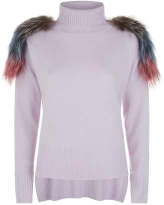 Izaak Azanei Fur Trim Turtleneck Sweater