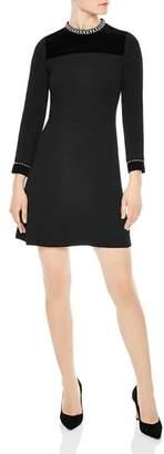Sandro Studded A-Line Mini Dress