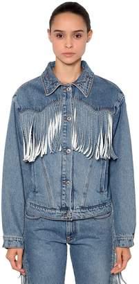 MSGM Fringed Cotton Denim Jacket