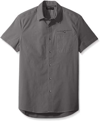 Kenneth Cole New York Men's Short Sleeve Stretch Ripstop Shirt, Ash Grey