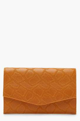 boohoo Faux Snake Envelope Clutch With Chain