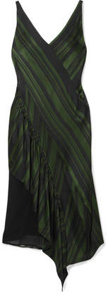 ADEAM - Asymmetric Lace-paneled Striped Satin Midi Dress - Emerald