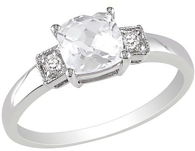 1-1/4 Carat Created White Sapphire and Diamond Accent Fashion Ring in Sterling Silver