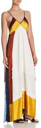 Tory Burch Sasha Silk Color Block Maxi Dress
