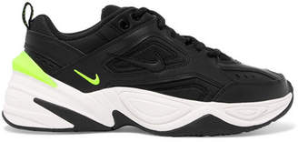 Nike M2k Tekno Leather And Neoprene Sneakers - Black