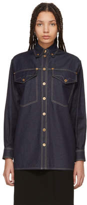 Versace Blue Denim Western Shirt