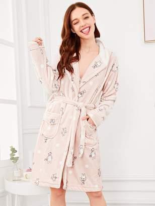 Shein Bear Print Self Belted Hooded Robe