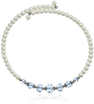 1928 Jewelry Simulated Pearl And Crystal Coil Choker Necklace 15""