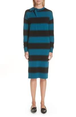 Marc Jacobs Tie Neck Stripe Wool Sweater Dress