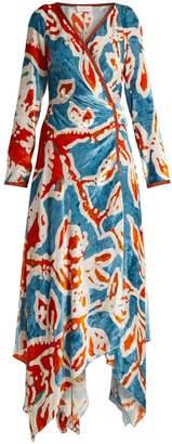Peter Pilotto Floral-print velvet wrap dress