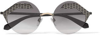Bvlgari Serpenti Round-frame Printed Metal Sunglasses