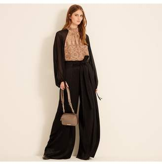 Amanda Wakeley Black Pleated Wide Leg Trousers