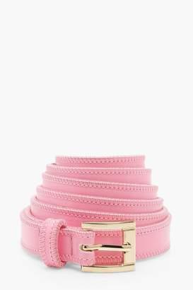 boohoo Lily Long Length Tie Skinny PU Belt