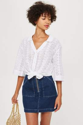 Topshop PETITE Broderie Knot Front Cami Top