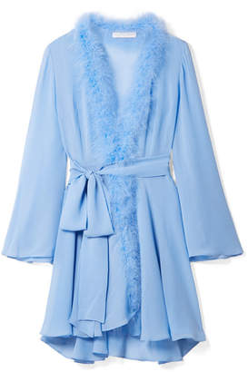 Rosamosario - Peter Pan Feather-trimmed Crystal-embellished Silk-georgette Robe - Sky blue
