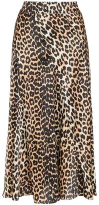 Ganni Blakely leopard-print silk skirt