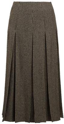 The Row Odell Houndstooth Wool Blend Skirt - Womens - Black White