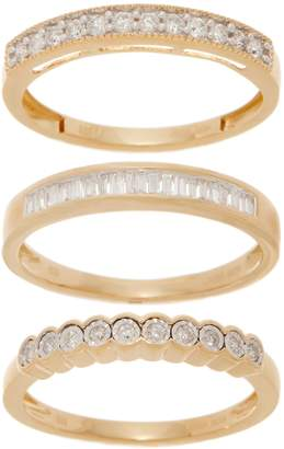 Affinity Diamond Jewelry Set of 3 Diamond Rings, 1/2 cttw, Sterling, by Affinity