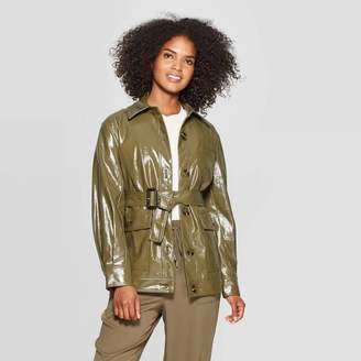 Who What Wear Women's Long Sleeve Turnover Collar Front Button-Down Patent Cargo Jacket - Who What WearTM Green