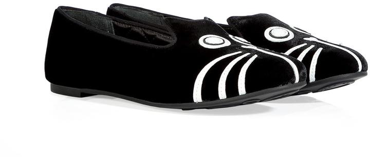 Marc by Marc Jacobs Black/White Velvet/Leather Cat Slipper-Style Loafers
