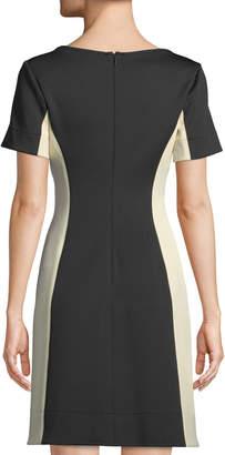 Donna Karan Colorblocked Scuba-Knit A-Line Dress
