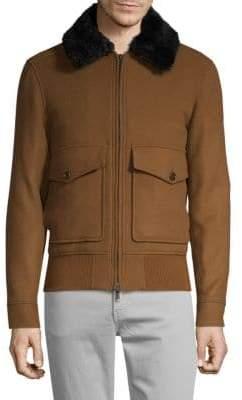 J. Lindeberg Shearling-Collar Wool-Blend Bomber Jacket