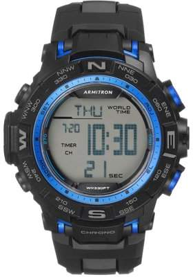 Armitron Mens Sports Black and Blue Resin Strap Round