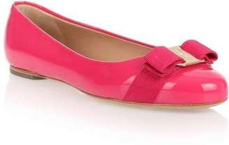 Salvatore Ferragamo Varina patent raspberry ballerina $405 thestylecure.com