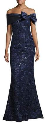 Rickie Freeman For Teri Jon Off-the-Shoulder Embroidered Mermaid Gown, Navy