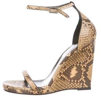 Saint Laurent Snakeskin Wedge Sandals