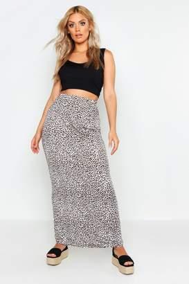 boohoo Plus Leopard Maxi Skirt