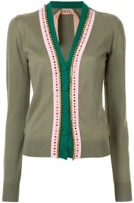 No.21 embellished trim V-neck cardigan