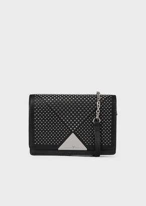 Emporio Armani Vachetta Leather Shoulder Bag With Mini Studs