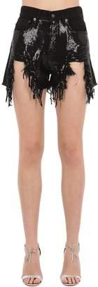 R 13 Destroyed Cotton Denim Shorts W/ Sequins
