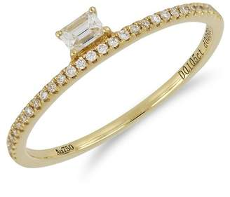 Bony Levy 18K Rose Gold Radiant & Round DiamondDetail Stackable Ring