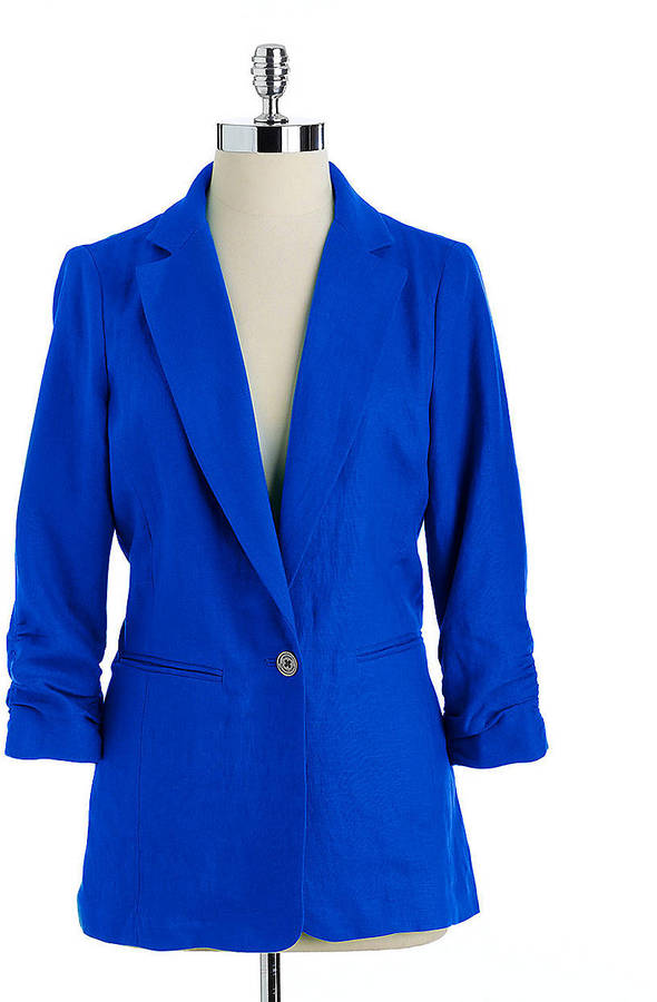 MICHAEL MICHAEL KORS Shirred Sleeve Linen Jacket