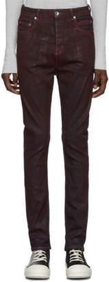 Rick Owens Burgundy Detroit Jeans