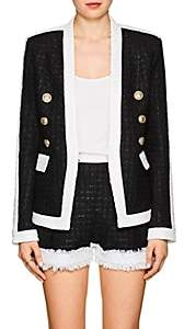 Balmain Women's Fringed Tweed Collarless Jacket-Black