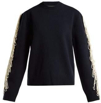 Calvin Klein Fringe Trim Wool Sweater - Womens - Navy Multi
