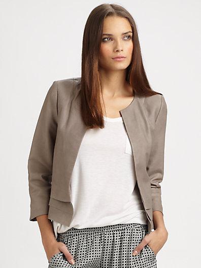 Joie Merril Leather Ruffle Jacket