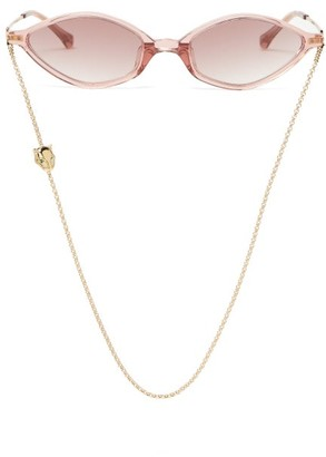 Linda Farrow X Alessandra Rich Cat Eye Sunglasses And Chain - Womens - Dark Pink