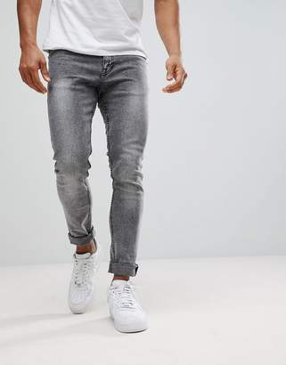 New Look Skinny Fit Jeans In Black Acid Wash